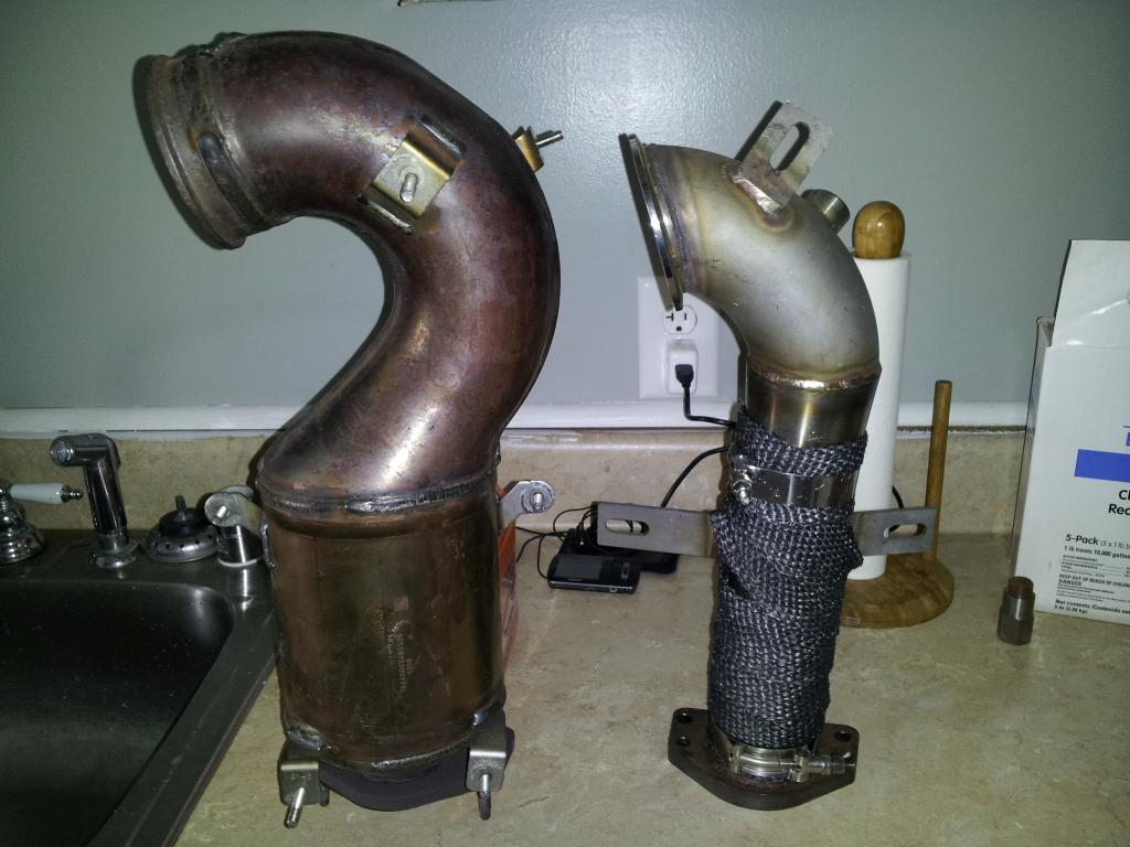 aftermarket downpipe with stock exhaust. Black Bedroom Furniture Sets. Home Design Ideas